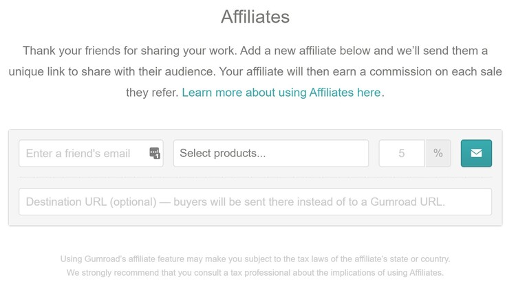 Affiliates Center for Gumroad