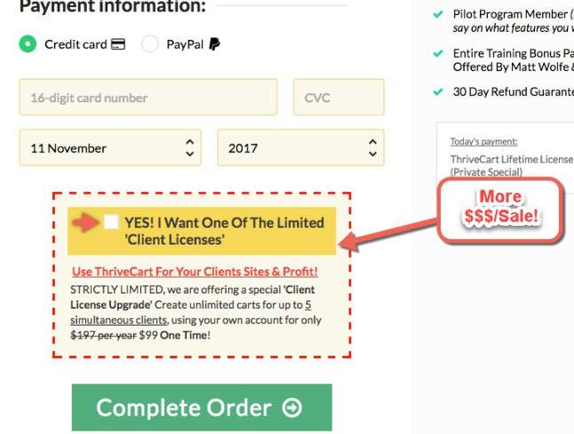 Cart payment option