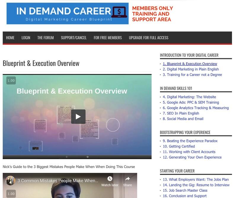 Digital Marketing Career Blueprint Members Dashboard