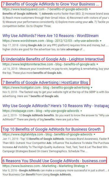 Google Favoring List Articles for This Query