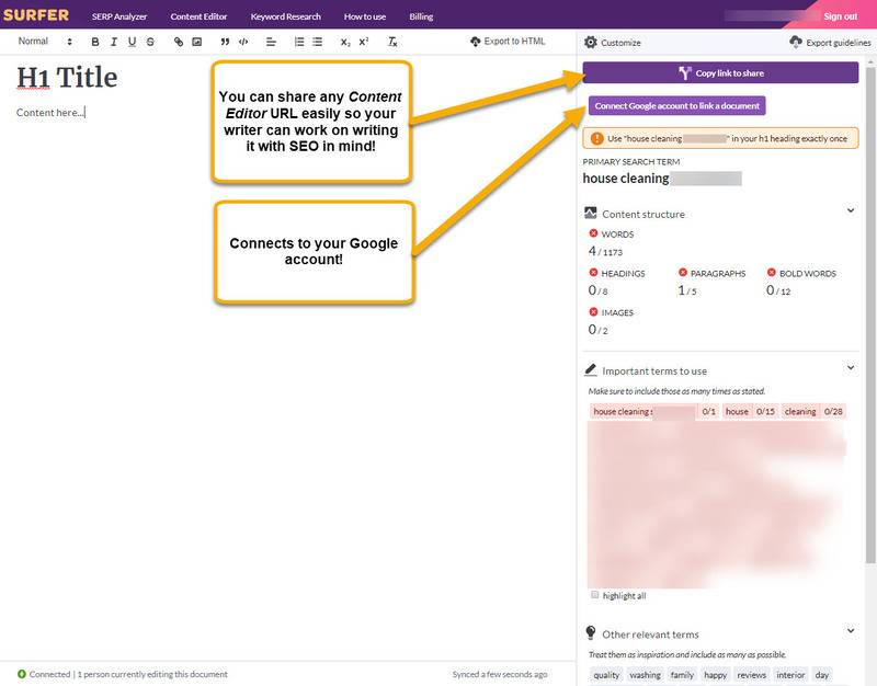 SurferSEO Content Editor Screen