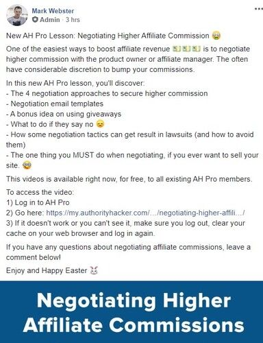 New Lesson - Negotiating Higher Affiliate Commissions