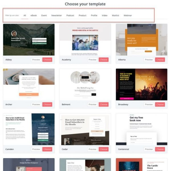 ConvertKit landing page template library 2
