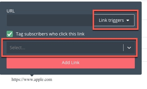 email marketing link triggers