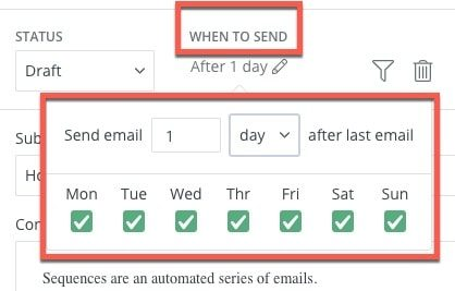 email sequence options