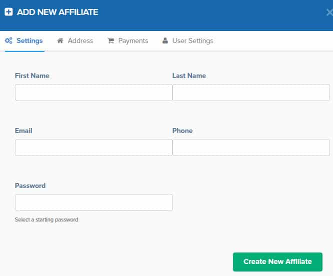add new affiliate member to your affiliate program