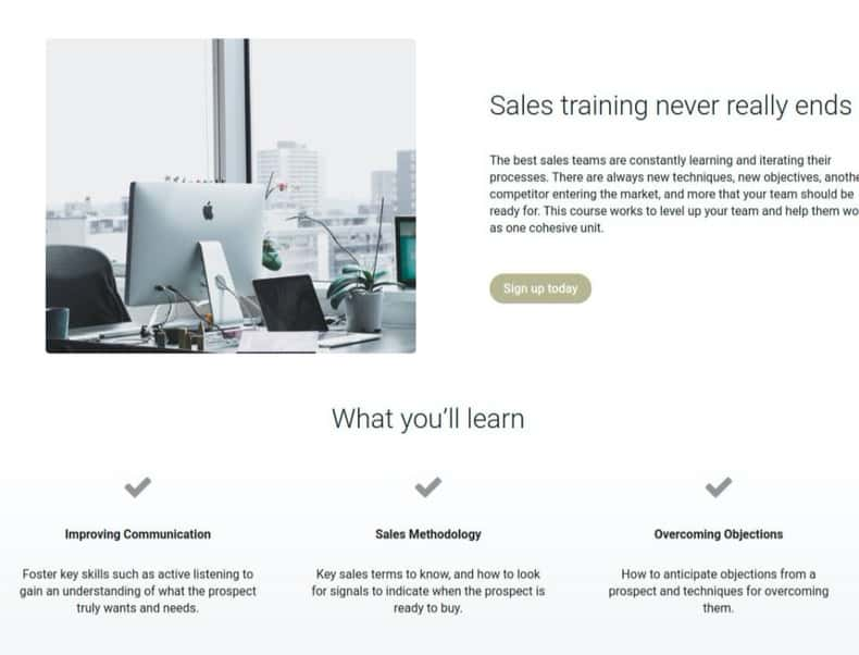 course sales page