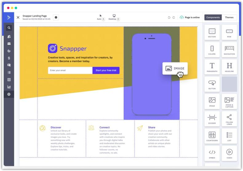 drag and drop landing page builder