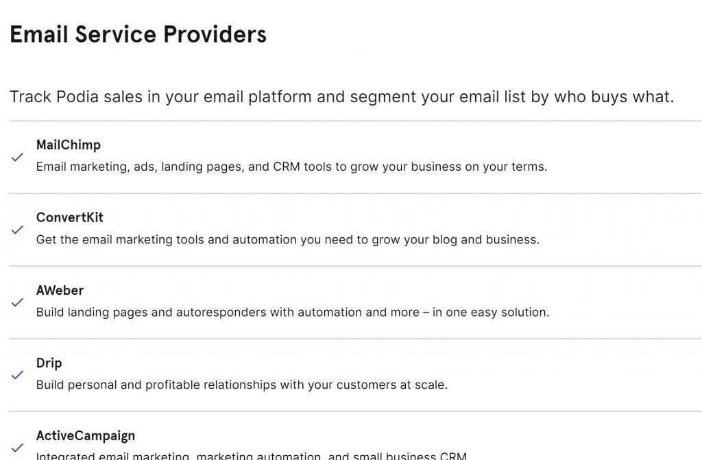Podia Email Integrations