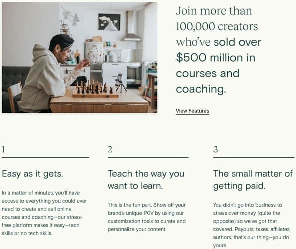 sell courses with teachable