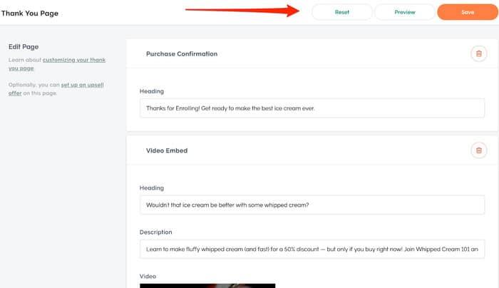 platform teachable thank you page